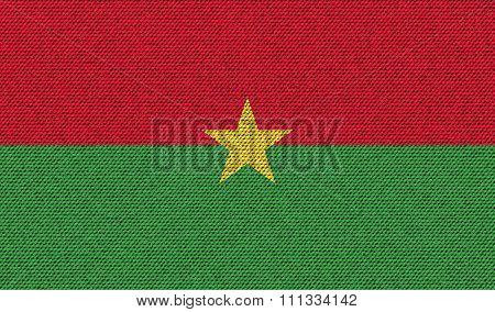 Flags Burkia Faso On Denim Texture.