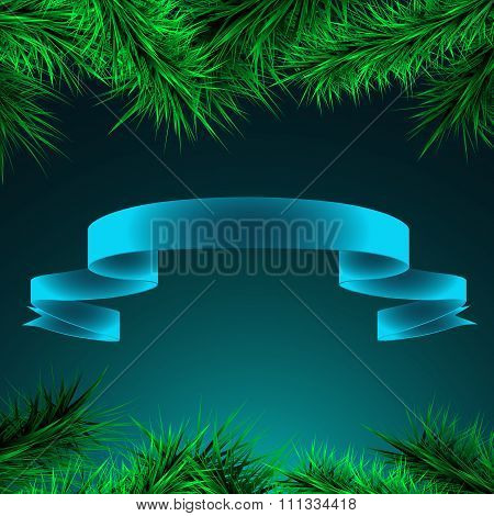 Green Branches Of Spruce And Ribbon On A Blue  Background,