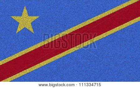 Flags Congo Democratic Republic On Denim Texture.