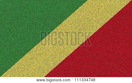 Flags Congo Republic On Denim Texture.