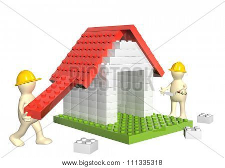 Two builders and house from 3d plastic toy blocks. Isolated on white background