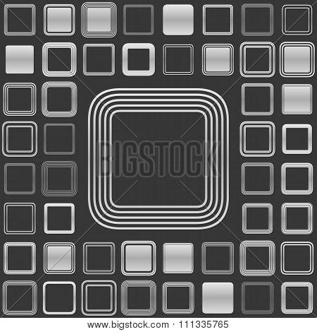 Silver line square logo design set