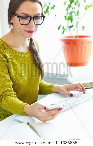 Beautiful Young Woman Working From Home