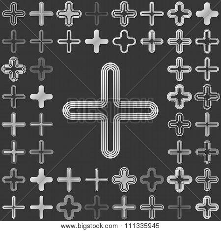 Silver metallic plus icon design set