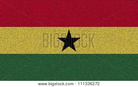 Flags Ghana On Denim Texture.