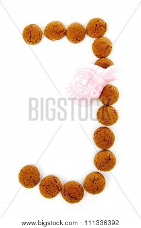 Ginger Nuts, Pepernoten, In The Shape Of Letter J Isolated On White Background