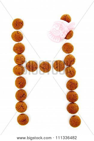 Ginger Nuts, Pepernoten, In The Shape Of Letter H Isolated On White Background