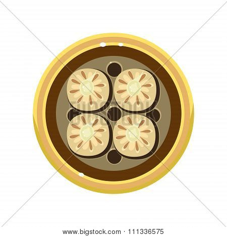 Tasty Homemade Pie Decorated with Cookies Served Food. Vector Illustration