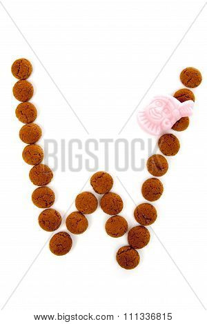 Ginger Nuts, Pepernoten, In The Shape Of Letter W Isolated On White Background