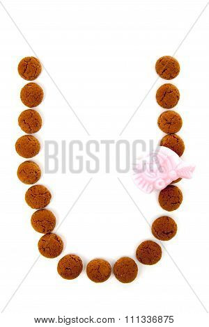Ginger Nuts, Pepernoten, In The Shape Of Letter U Isolated On White Background