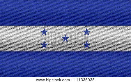 Flags Honduras On Denim Texture.