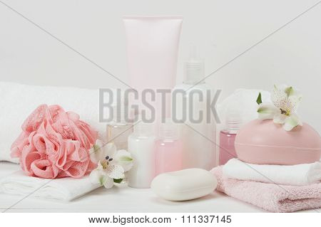 Spa Kit. Shampoo, Soap Bar And Liquid. Toiletries