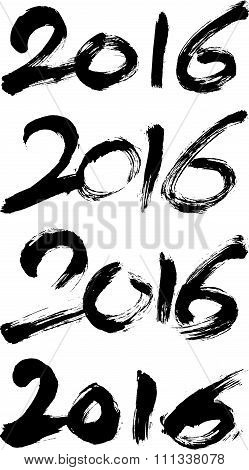 Happy New Year 2016 - A set of four vintage 2016