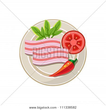 Lard, Pepper and Tomato Served Food. Vector Illustration