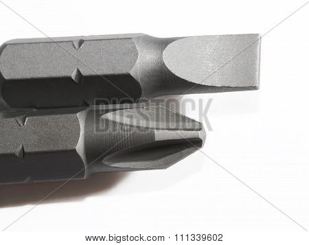 Screwdriver Bits On White