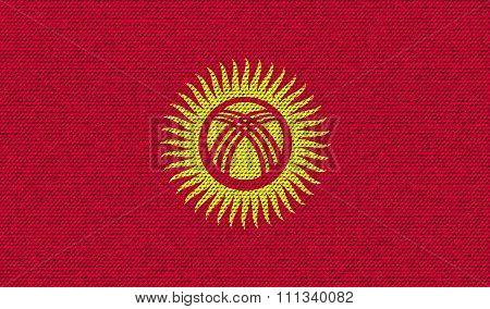 Flags Kyrgyzstan On Denim Texture.