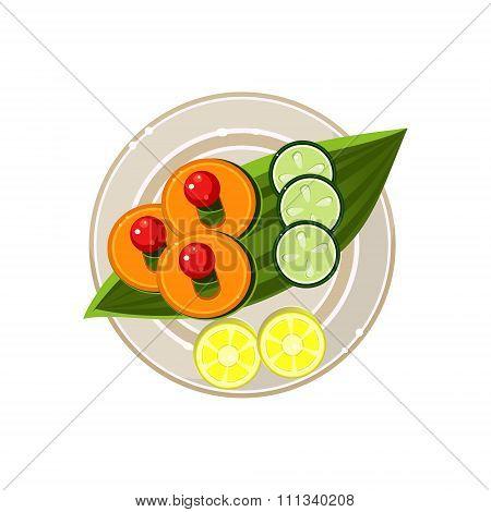 Island Food on a Palm Tree Leaf Served Food. Vector Illustration