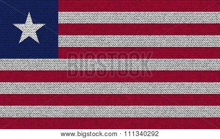 Flags Liberia On Denim Texture.