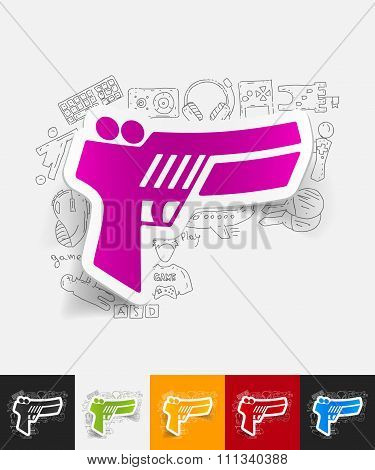gun game paper sticker with hand drawn elements