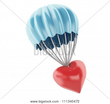 3D Heart At Parachute. Love Concept