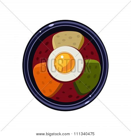 Soup with Toasts and Fried Egg Served Food. Vector Illustration