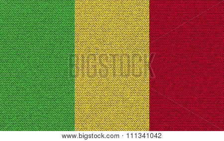 Flags Mali On Denim Texture.