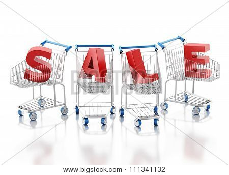 3D Shopping Cart. Sale Concept