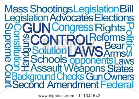 Gun Control Laws Word Cloud on White Background