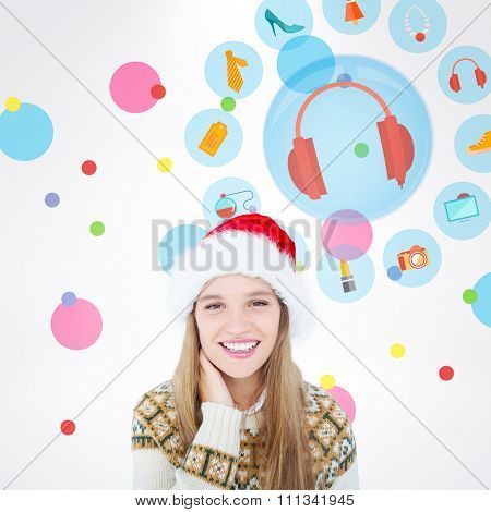 Happy hipster smiling at camera against dot pattern