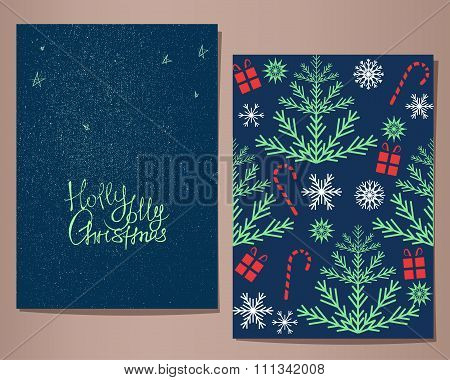 Holly Jolly Christmas greeting cards set, vector illustration.