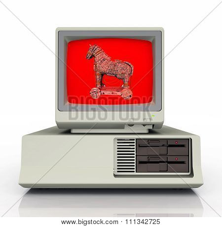 Warning symbol for the computer virus Trojan horse on a PC monitor