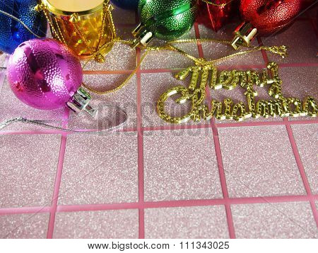 Merry Christmas, Decorated Equipment On Pink Tartan Background
