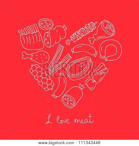 Meat icons in the shape of heart