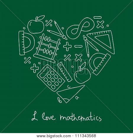 Math icon in the shape of heart