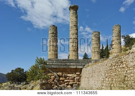 The Temple of Apollo in Ancient Greek archaeological site of Delphi