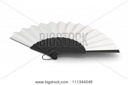 Open Hand Fan Isolated. 3D Illustration.