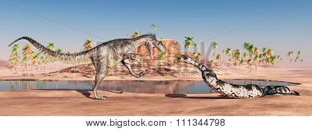 Megalosaurus and Titanoboa attacking each other