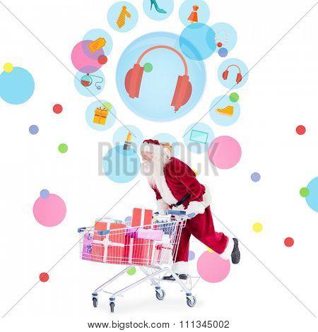 Santa pushing a shopping cart against dot pattern