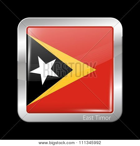 Flag Of East Timor. Metallic Icon Square Shape