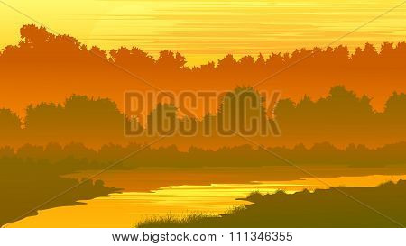 Vector Illustration Of Forest With A River At Sunset.