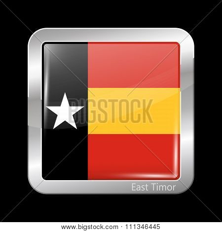 Timor-leste Variant Flag. Metallic Icon Square Shape