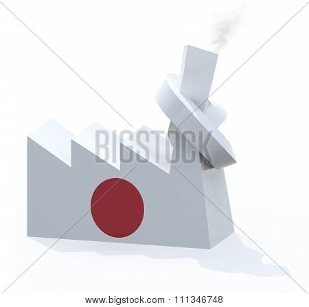 Japanese Factory With Chimney Knotted