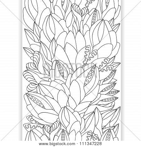 Stock Vector Seamless Doodle Pattern. Black And White Border