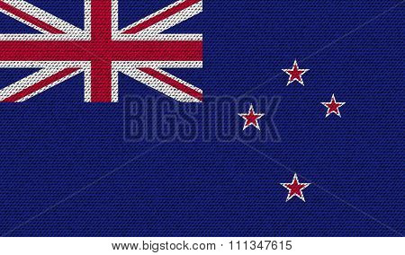Flags New Zeland On Denim Texture.