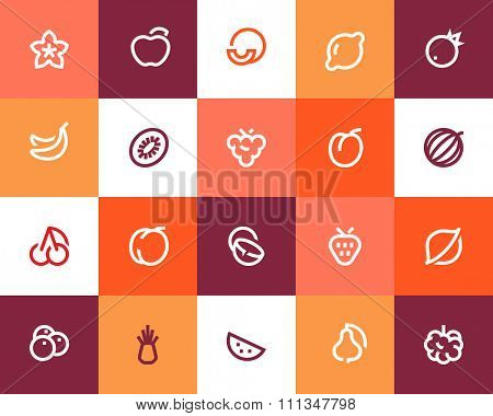 Fruits icons. Flat series