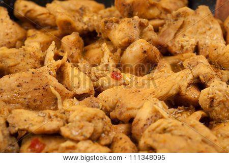 Braised chicken close up
