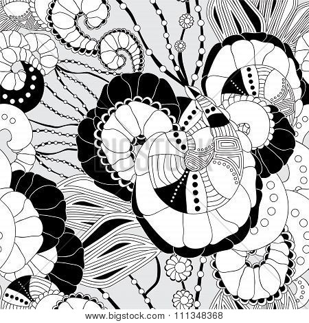Stock Vector Seamless Doodle Pattern. Black And White