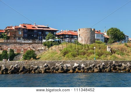 Nessebar, Ancient Stone Watch Tower On Coast
