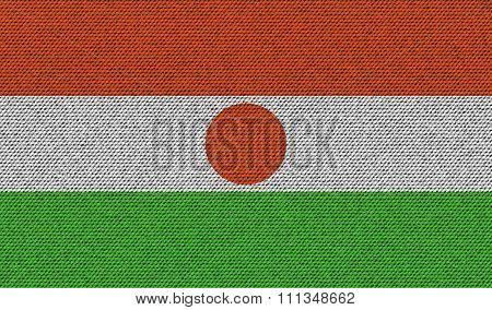 Flags Niger On Denim Texture.