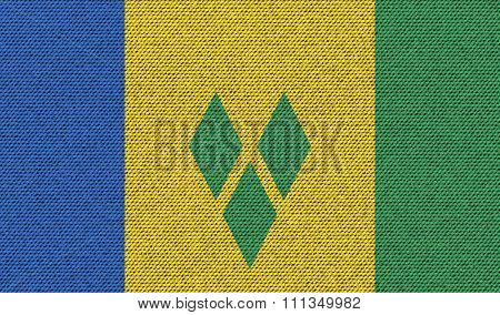 Flags Saint Vincent Grenadines On Denim Texture.